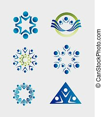 mensen, teamwork, logo, pictogram, groep