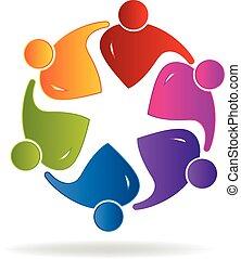 mensen, teamwork, sociaal, logo, media
