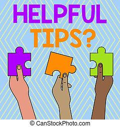 mensen, tekst, raadsel, meldingsbord, gehouden, informatie, gegeven, kennis, jigsaw, drie, geheim, foto, conceptueel, tips, het tonen, lege, zijn, raad, question., anders, stukken, hands., gekleurde, behulpzaam, of