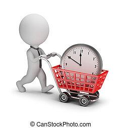 mensen, -, tijd, kleine, zakenman, kopen, 3d