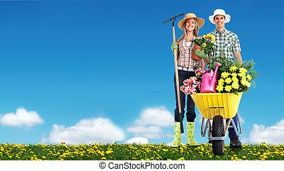 mensen., tuinieren