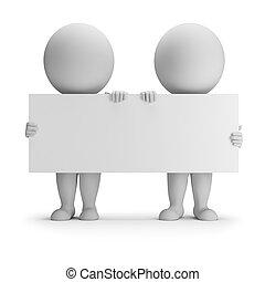 mensen, -, twee, bewaren, plank, kleine, lege, 3d