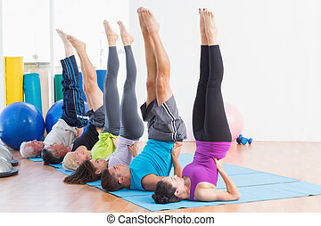 mensen, uit, werkende , fitheid brengen onder