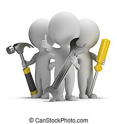 mensen, -, uitstekend, kleine, repairers, 3d