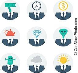 mensen, vaardigheden, communicatie, karakter, avatars, concept