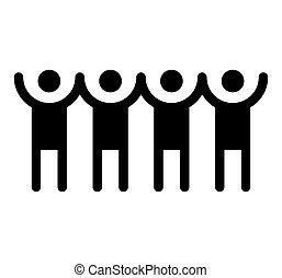 mensen, vasthouden, illustratie, handen