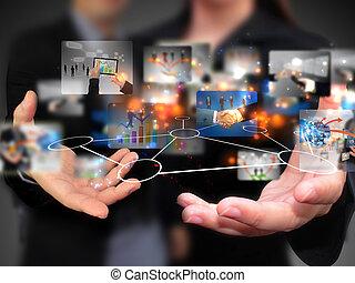 mensen, vasthouden, media, sociaal, zakelijk