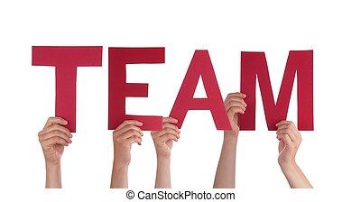 mensen, vasthouden, rood, team