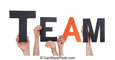 mensen, vasthouden, team