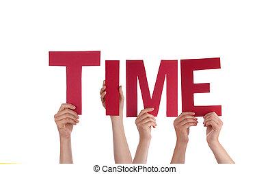mensen, vasthouden, tijd