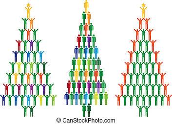 mensen, vector, boompje, kerstmis
