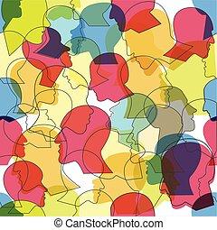 mensen, vector, menigte, profiel, model, seamless, anders, heads., achtergrond., velen