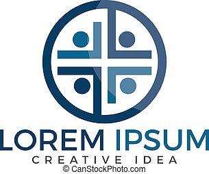 mensen, vector, ontwerp, kerk, logo, template.
