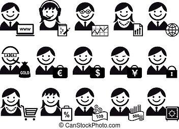 mensen, vector, set, zakelijk, pictogram