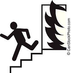 mensen, veiligheid, vuur, nooduitgang, icon., man, vector, ontsnapping, rennende , illustration., tekens & borden, silhouette