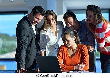 mensen, vergadering, handel team