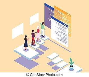 mensen, vergaderingen, scherm, groep, zakelijk, voorkant