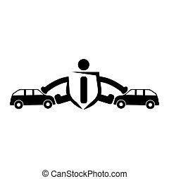 mensen, verhinderen, auto, accidents., autoverzekering