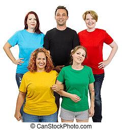 mensen, vervelend, anders, gekleurde, leeg, overhemden