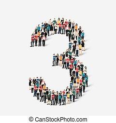 mensen, vorm, nummer drie