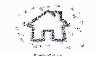 mensen, vorm, van, een, woning, meldingsbord