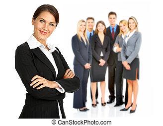mensen., vrouw, groep, zakelijk