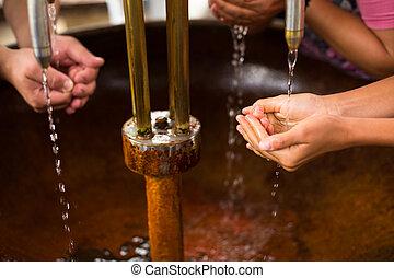 mensen, vullen, hun, handen, met, gezonde , mineraal water