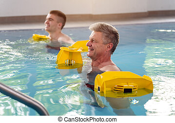 mensen, water, fysiotherapie, turnoefening, gedurende, pool