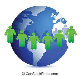 mensen, wereld, ongeveer