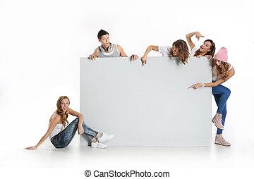 mensen, whiteboard, groep