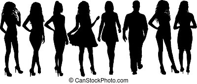 mensen, witte , silhouette, groep, staand, achtergrond