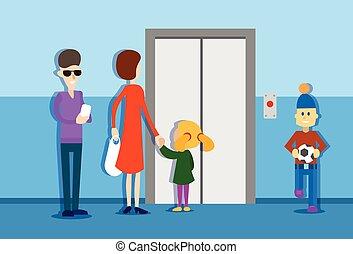 mensen, woning, interieur, lift, groep, wachten