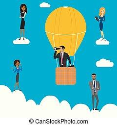 mensen zaak, zakenman, warme, wolken, verrekijker, balloon, lucht