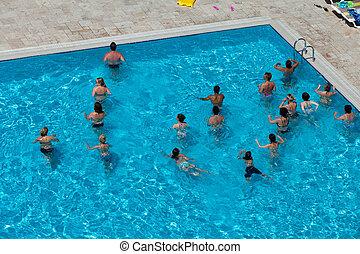 mensen, zijn, doen, water aerobic, in, pool