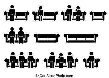 mensen zittende, op, stoel, sofa.