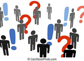 mensen, zoeken, informatie, uitroep, vraagtekens