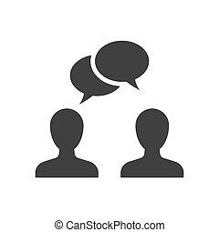 mensen, zwarte achtergrond, witte , het spreken, pictogram