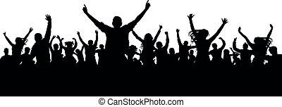 mensenmassa, applauding, publiek, silhouette., bemoedigen