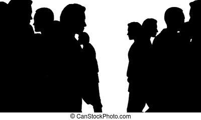 mensenmassa, groot, verhuizen, divergently, zijaanzicht