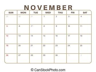 mensile, calendario, 2017, novembre