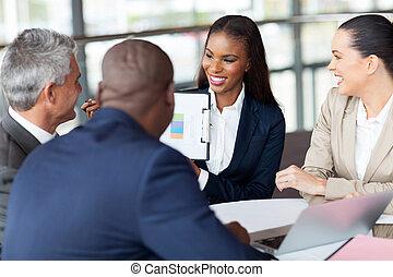 mensile, gruppo, riunione, detenere, affari