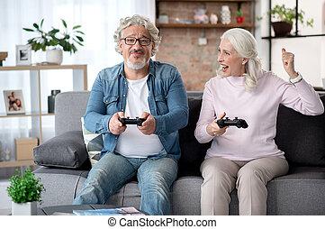mensola, coppia, sposato, insieme, allegro, anziano, gioco