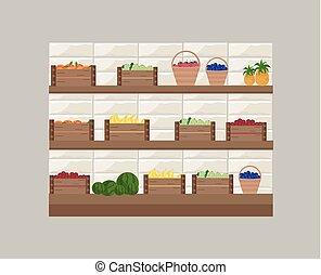 mensola, frutte, illustrazione, vettore, fresco, store.