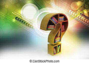 mensola, modello, libro, punto interrogativo