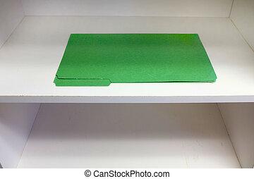 mensola, singolo, verde, file, affari