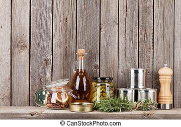 mensola, spezie, ingredienti cucinare, erbe