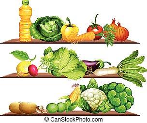 mensola, verdura, olio, fresco