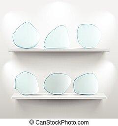 mensole, app, icone, vetro, fondo, bianco