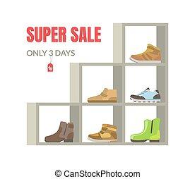 mensole, bandiera, stagione, vendita, illustrazione, vettore, calzatura, interno, super, negozio, scarpe