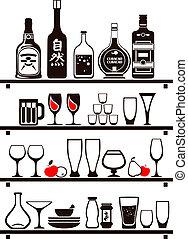 mensole, icone cibo, su, set, vettore, disegnato, bibite, cucina